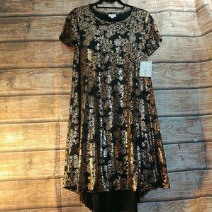 Elegant Carly dress - floral copper foil w pocket